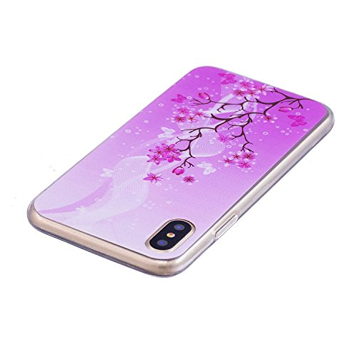 inShang iPhone X 5.8inch custodia cover del cellulare, Anti Slip, ultra sottile e leggero, custodia morbido realizzata in materiale del TPU, frosted shell , conveniente cell phone case per iPhone X 5. Tree flowers