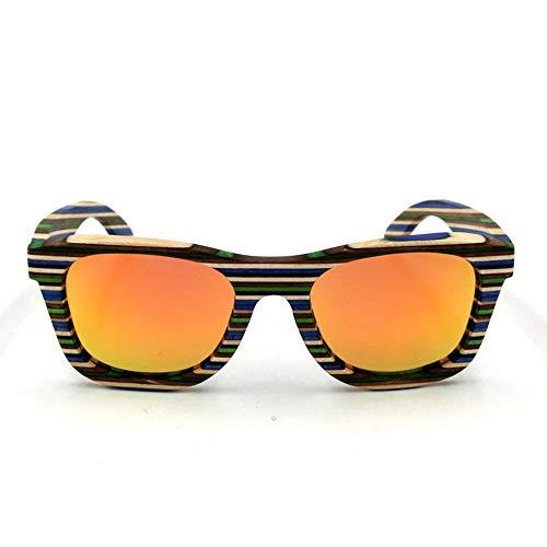 Easy Go Shopping Herren/Damen Holz Sonnenbrillen, Classic Fishing Driving Polarized Glasses Sonnenbrillen Sonnenbrillen und Flacher Spiegel (Farbe : Orange)