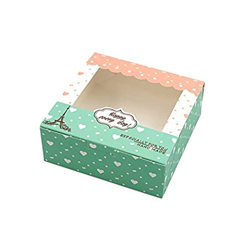 Zhi Jin 12Pcs Sweet Heart Paper Cake Box Cupcake Pastry Packaging Gift Boxes Bakery Container Set 5inch