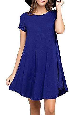 YYWING Women's short Sleeve Casual Loose T-Shirt Dress (Large(UK 16-18), Royal Blue)