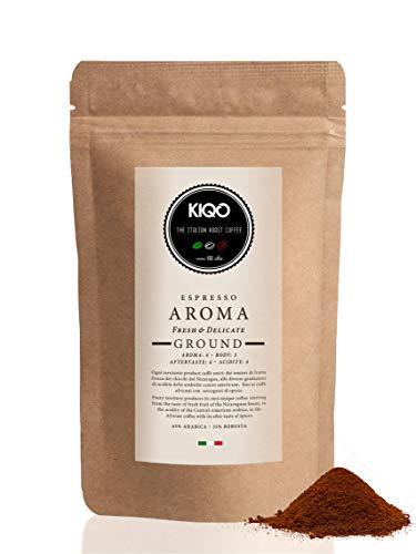KIQO Aroma 250g Espresso aus Italien | in schonenden Kleinstchargen geröstet | säurearm | 65% Arabica & 35% Robusta Bohnen (250g - gemahlen)