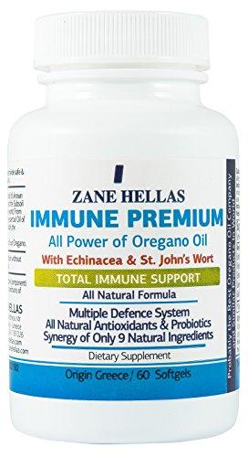 Immune Premium da Zane Hellas. 60 Softgels. Per un forte sistema immunitario sano. Con olio di origano olio, Echinacea e iperico. 100% Formula naturale perfetto benessere.