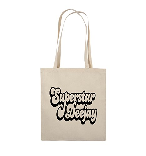 Comedy Bags - Superstar Deejay - Jutebeutel - lange Henkel - 38x42cm - Farbe: Schwarz / Pink Natural / Schwarz