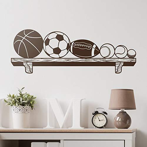 mlpnko Kinder Wandaufkleber Bücherregal mit Ball Basketball Fußball Rugby Baseball Tennis und Golf-Enthusiasten ideal für 80x28cm
