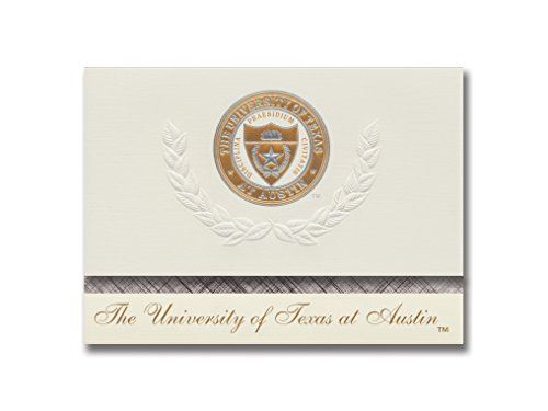 Signature Ankündigungen der Universität von Texas in Austin Abschluss Ankündigungen, platin Stil, Basic Paket 20mit u. der texas-austin Kupfer Dichtung Folie
