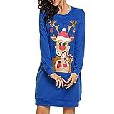 Xmiral Damen Weihnachtskleid AFFE Print Langarm Kleid Damen Minikleider (L,Blau2)
