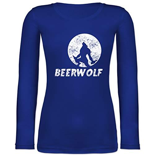 Statement Shirts - Beerwolf - L - Blau - BCTW071 - Langarmshirt Damen (Gruppe Alkohol Halloween Kostüme)