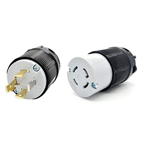 Generator Power Inlet (CHOULI NEMA L14-20 L14-30 Generator-Verriegelungsstecker 125 V 250 V 4-Stift-Stecker + Buchse L14-30 Schwarz)