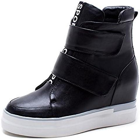 Signore inverno in pelle piattaforma piattaforma cunei scarpe casual stivali