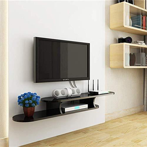 JDH Wandmontierter Tv-Schrank Schwimmendes Regal Wohnzimmer Schlafzimmer Wandregal Bücherregal Multimedia-Konsole Tv-Ständer Schwarz/Weiß (Farbe: Schwarz, Größe: 1.3M), Schwarz, 1,2 m 1,3 M-box