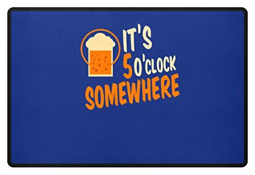 SPIRITSHIRTSHOP It's 5 O'clock Somewhere - Irgendwo Ist Es 5 Uhr - Zeit, Trinken, Bier, Alkoholiker, Glas - Fußmatte -60x40cm-Royal Blau