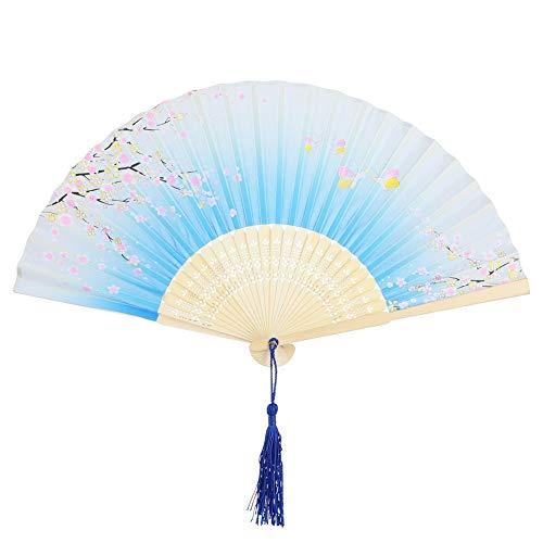 VICKSONGS Handfächer Chinesischer Fächer Bambus Faltfächer für Hochzeit Party Tanzen Deko Geschenk, Retro Klappfächer Wandfächer mit Tasche - Hellblau