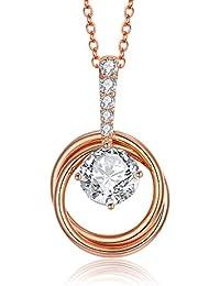 3e8d6354eb32 Italina Bijoux Collars para Mujer Niña Dos Anillos Moda para Mujeres  Ajustable Color de Rodio Oro Oro-Rosa Regalo…