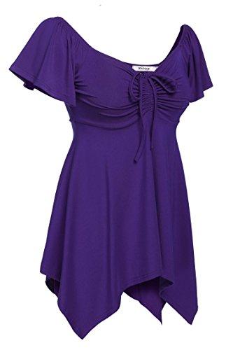 CRAVOG Damen Casual Unregelmäßige Saum Shirt Tee T shirt Tops Bluse Lila