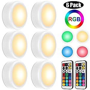 Schrankbeleuchtung LED Nachtlicht RGB Schrankleuchten mit Fernbedienung LED Beleuchtung Treppen Lampe Licht Unterbauleuchten Kabinett LED Batteriebetrieben Schränkeleuchte für Küche Schlafzimmer Gang