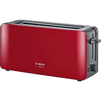 Bosch tat6a004longue Grille-pain 2fentes Comfort Line, pain automatique ZENT rierung, fonction décongélation, 1090W, rouge/anthracite