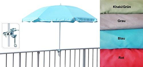 Sonnenschirm Ø 125 cm Geländerschirm Geländer Balkon inkl Halterung Balkonschirm (Rot)