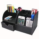 Btsky - Portaoggetti da ufficio multi-funzionale in pelle di poliuretano, per penne, biglietti da visita, telefono, telecomando e altri oggetti Nero