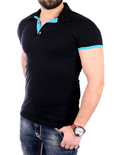 Reslad Poloshirt Herren Slim Fit T-Shirt Basic Kontrast Polo-Hemd Shirt tailliert RS-5099 Schwarz-Türkis