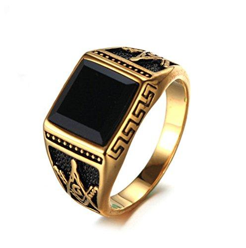 Bishilin Edelstahl Herren Ringe Edelstahlring Brillantschliff Zirkonia Masonic Freimaurer Männer Ring Partnerring Gold Größe 57 (18.1)