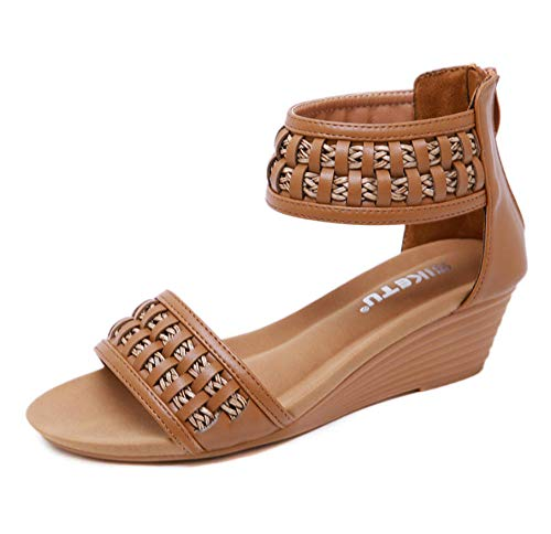 YYAMO Women's Sandals Roman Braided Bohemian Wedges with Large Size Comfort Shoes Summer Increased, Breathable, Wear Resistant,41_EU,25.5Cm Braided Wedge Sandal