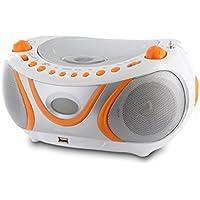 Metronic 477133 Radio / Lecteur CD / MP3 Portable Juicy avec Port USB - Orange et Gris