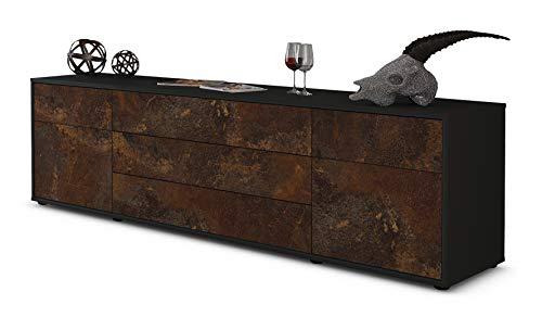 Stil.Zeit TV Schrank Lowboard Benita, Korpus in Anthrazit Matt/Front im Rost Antik Industrie Design (180x49x35cm), mit Push-to-Open Technik und Hochwertigen Leichtlaufschienen, Made in Germany -