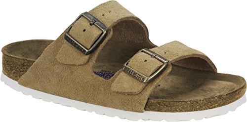 Birkenstock Classic Unisex-Erwachsene Arizona Leder Softfootbed Pantoletten, Braun (Sand), 40 EU