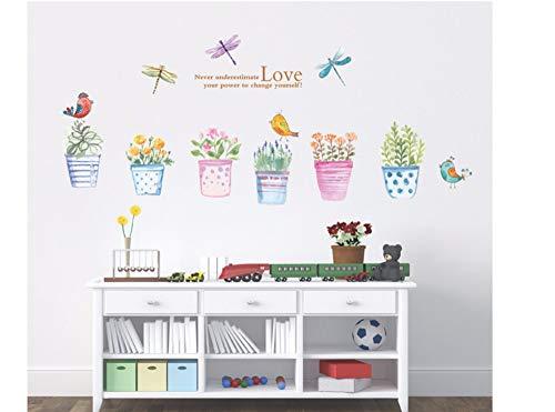 Zxfcczxf Kreative Wohnzimmer Horizontale Aufkleber Studio Kindergarten Dekoration Grundschule Klassenzimmer Blumen Bonsai Aufkleber 55 * 90 Cm