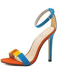 GLTER Mujeres Open-Toe Bombas Verano Suede Lucha Color Palabra Simple Salvaje Fine High-Heeled Sandalias al aire libre Corte Zapatos , blue , 40