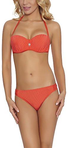 Feba Damen Push Up Bikini Set 92GG6 (Coral, Cup 85 D/Unterteil 42)