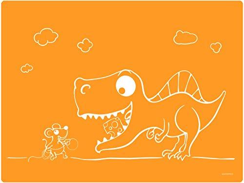 Dinomio Silikon Tischset für Kinder mit Dinosaurier und Maus orange - rutschfest und abwischbar, 40 x 30 cm