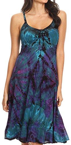 Kleid Kostüm Dye Tie - Sakkas 181304 - Zoe Frauen Summer Bohemian Spaghetti Strap Short Kleid Tie Dye Bestickt - Petrol/lila - S/M