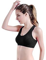 Ularma Yoga estiramiento Tank Top deportivo acolchado transparente Bra de las mujeres