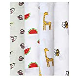 Swaddle wrap for New Born - Organic Muslin Cotton Pack of 4, Monkey