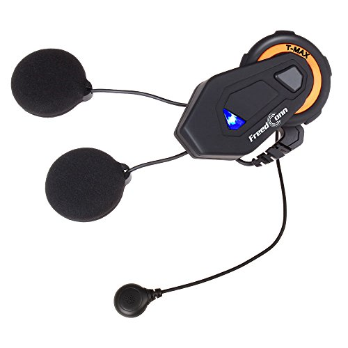 ntercom Bluetooth 4.1 Headsets Full Duplex Interphone Walkie Talkie 6 Riders Group Helmet Motorcycle Intercom 1500M/FM Radio/Hand Free (1 Pack of Soft Microphone Cable) ()