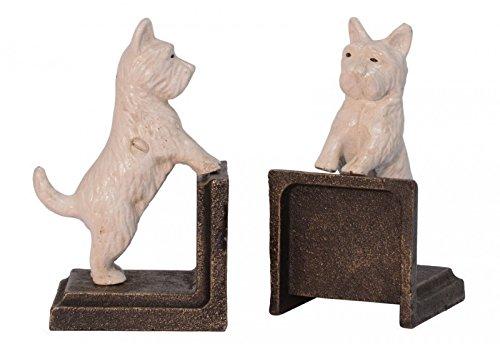 2-er Set Buchstützen Figur Skulptur Hund Malteser Niedlich Dekoration Gusseisen (Malteser Hund Figur)