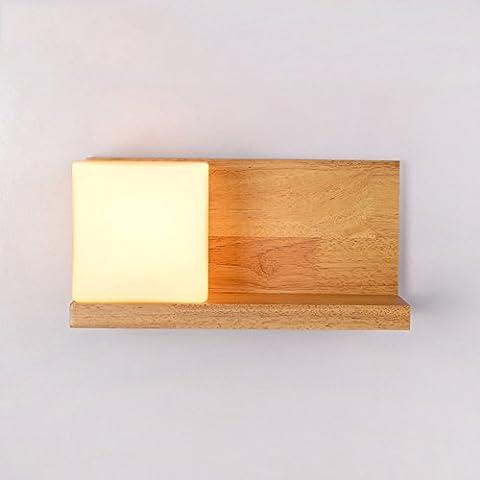LZDHY Neue LZD-007 hölzerne Wand-Lichter Spiegel-vorderes Licht kann kleine Einzelteile setzen Schlafzimmer-Nachttisch-Nachtlicht-Quadrat-Glas-Wand-Lampe Kinderzimmer Studie Lampe ( Color : Left )