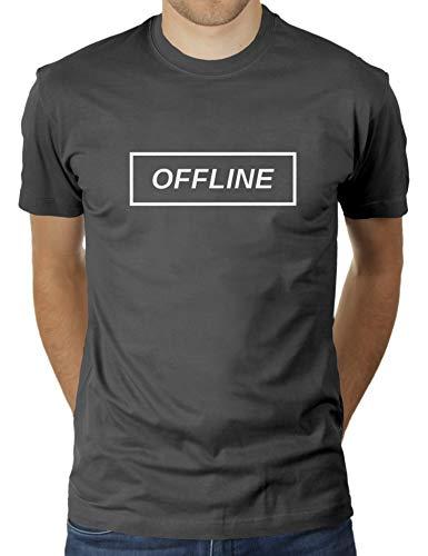 Offline - Auszeit - Herren T-Shirt von KaterLikoli, Gr. 2XL, Anthrazit (Lustig Arbeitsplatz Kostüm)