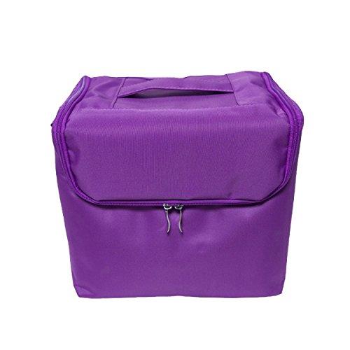 Yy.f Grande Capacità Di Tela Portatile Trousse Professionale Facile Da Integrare Bag Multi-layered Separatore Borsa Di Tela Box Scatole Borsa Trucco Le Partizioni E Imballare Scatole. Multicolore Purple