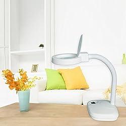 Concise Home LED Iluminador Ampliador Lupa Escritorio Mesa de Iluminación de la Lámpara de Lectura Lámpara de mesa con lupa para manicura