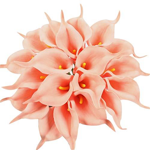 XIUER 20 Stück Calla-Lilien Brautstrauß Hochzeit Lataex Real Touch Künstliche Blumen Home Party Decor Lachs