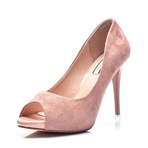Damen Pumps Peep-Toe High-Heels Nubukleder Slip on Rutschhemmend Sommerlich Atmungsaktiv Schick OL Abend Party Büro Topaktuell Stiletto Pink