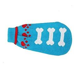 Imported Blue Turtleneck Dog Sweater Clothes w/ Bone Patterns - Size S