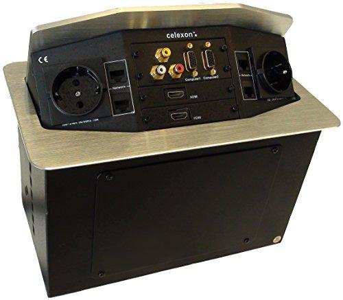 celexon Expert Tischanschlussfeld TA-300S - silber - 287x170mm - HDMI - VGA - Audio (1x Chinch L+R)...