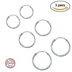 Idea Regalo - 3 Paia Orecchini a Cerchio Acciaio, Inossidabile Cerchio Orecchini Set Orecchio Cerchio Rotondo Set di Anelli Orecchio – Diametro: 12 14 16 mm