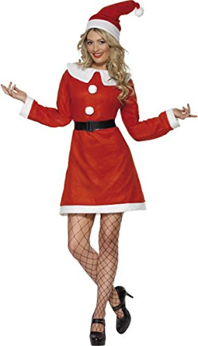 Smiffys adulti christmas fancy party da donna costume da babbo natale con cintura e cappello vestito completo
