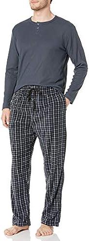 Essentials by Seven Apparel Men's Long-Sleeve Top and Fleece Bottom Pajama