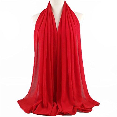 ❤️ SAFIYA - Hijab Kopftuch für muslimische Frauen I Islamische Kopfbedeckung 75 x 180 cm I Damen Gesichtsschleier, Schal, Pashmina, Turban I Musselin / Chiffon - Rot - 3