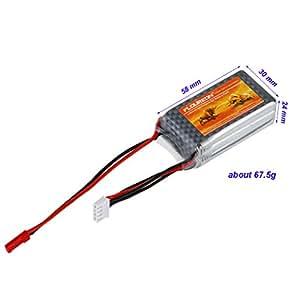 Floureon® Batterie RC Lipo Batterie JST 11.1V 1000mAh 3S 25C pour RC Avion, Hélicoptère RC, voitures RC, RC Camion, bateau RC, RC récepteur, Télécommande